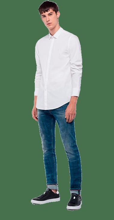 Camisa-Para-Hombre-Shirt-Blanco-M-Replay