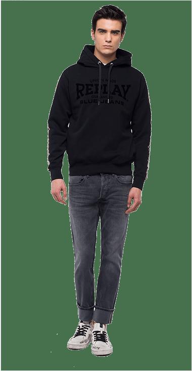 61af0ee327 Buzo-Para-Hombre-Sweatshirt-Negro-L-Replay
