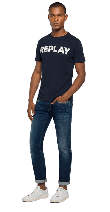 Camiseta-Para-Hombre-T-Shirt-Azul-Oscuro-Xl-Replay