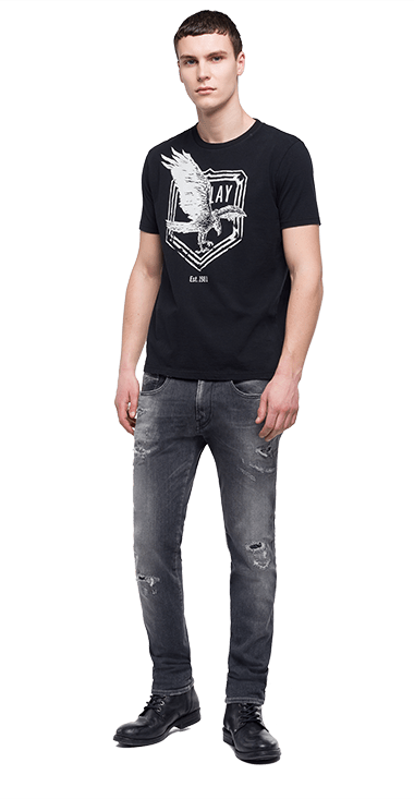 Camiseta-Para-Hombre-T-Shirt-Negro-S-Replay