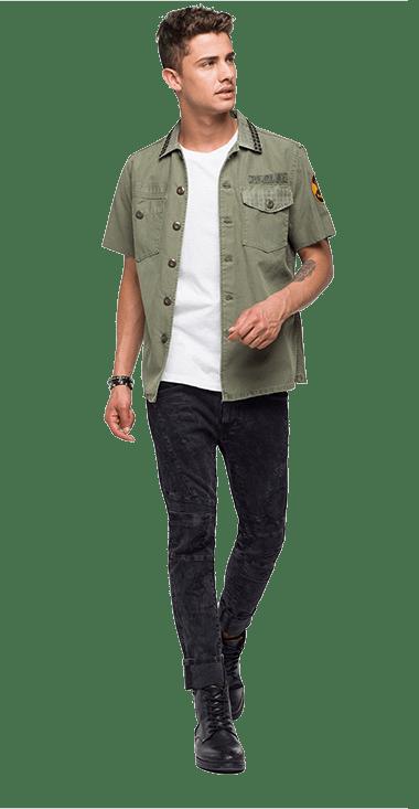 Camisa-Para-Hombre-Shirt-Verde-M-Replay