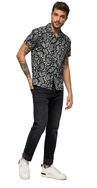 camisa-para-hombre-printed-cotton-popeline-replay