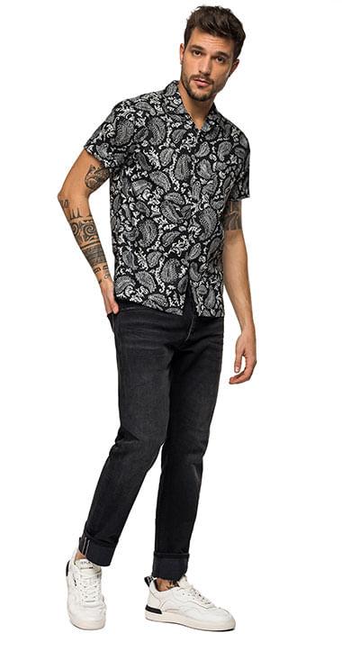 camisa-para-hombre-printed-cotton-popeline-replay