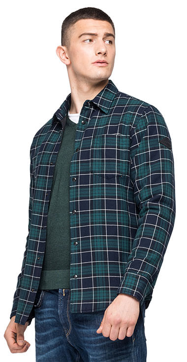 Camisa-Para-Hombre-Indigo-Checked-Flann-Replay