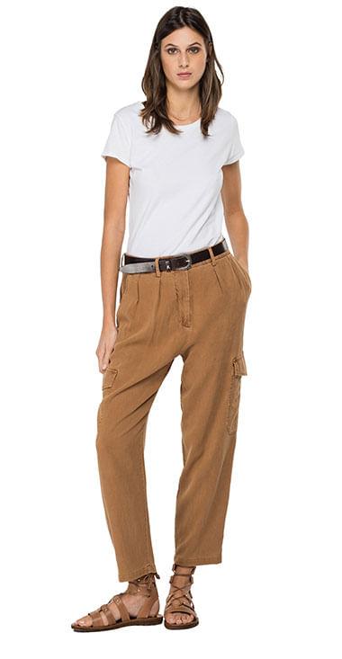 Pantalon-Cargo-Para-Hombre-Garment-Dyed-Textured-Rayon-Linen-Tencel-Replay