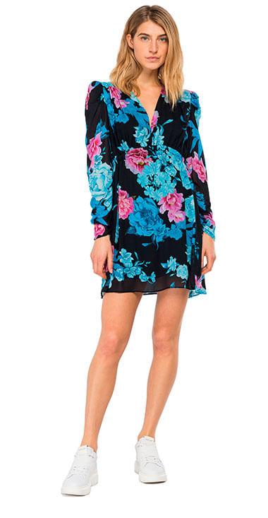 Vestido-Corto-Para-Mujer-All-Over-Printed-Viscose-Georgette-Replay
