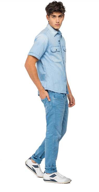 Camisa-Para-Hombre-Printed-Cotton-Twill-Replay